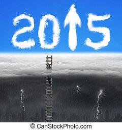 nuages, échelle bois, signe, flèche, homme affaires, 2015, escalade