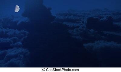 nuages, élevé, vol, altitude, clair lune, dramatique, nuit, ...