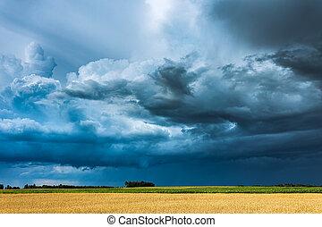 nuages, étagère, pleuvoir orage, intense, nuage