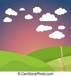 nuages, étoiles, ciel nuit, champ, retro, fond, v, dessin animé