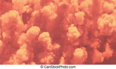 nuages, 4k, beau, coloré, fait boucle, vue, sous, sommet, interminable, cloudscape, soleil, seamless., 3840x2160, animation., 3d, sur, orange, ultra, sunset-sunrise, vol, hd, evening-morning