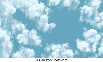 nuages, 4k, beau, fait boucle, vue, sous, sommet, interminable, après-midi, cloudscape, soleil, au-dessus, seamless., 3840x2160, animation., 3d, sur, ultra, vol, hd, lumière du jour, voler