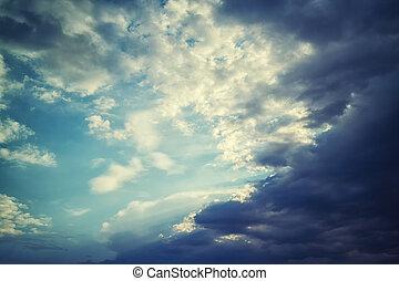 nuages, aérien, ciel