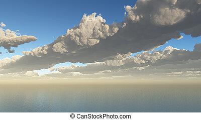nuages, aérien, mer