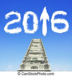 nuages, argent, haut, forme, flèche, blanc, 2016, escalier