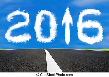 nuages, asphalte, haut, signe, forme, flèche, année, 2016, route