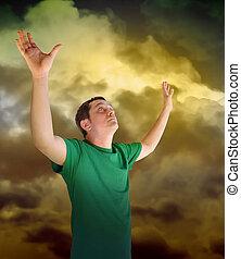 nuages, atteindre, paix, ciel, religieux, homme