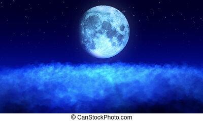 nuages, au-dessus, boucle, lune