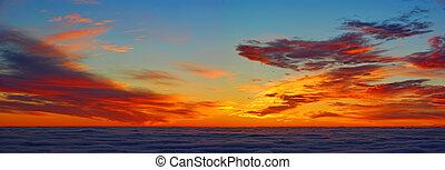 nuages, au-dessus, levers de soleil, panorama
