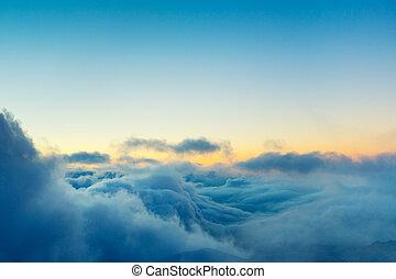 nuages, au-dessus, vue