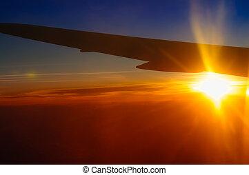 nuages, avion, temps, stratosphère, coucher soleil, fenêtre, ciel