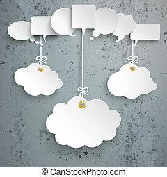 nuages, béton, 3, parole, pendre, blanc, bulles