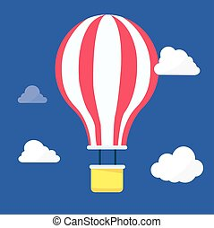 nuages, balloon, ciel, air, chaud, vector., nuit