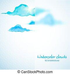 nuages, banner., illustration, aquarelle, verre, vecteur, fond