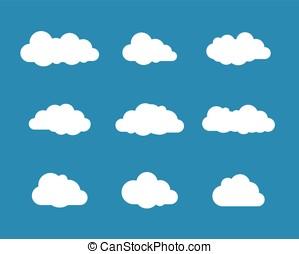 nuages blancs, sur, ciel bleu, collection