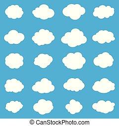 nuages blancs, sur, ciel bleu, ensemble