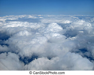 nuages, bleu, ciel, mi air, vue