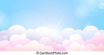 nuages, bleu, levers de soleil, rose, ciel