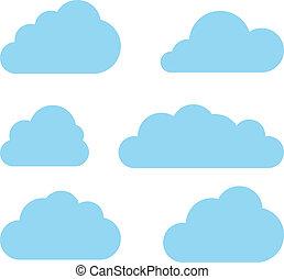 nuages, calculer, collection., vecteur, pack., nuage