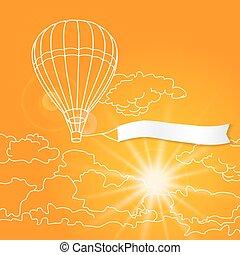 nuages, ciel, balloon, voler, ensoleillé, illustration, air, vecteur, vide, orange, bannière