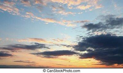 nuages, ciel, -, dramatique, coucher soleil, t