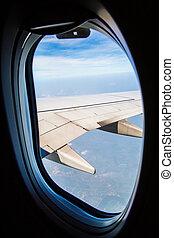 nuages, ciel, fenêtre, avion, par, vu
