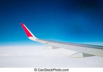 nuages, ciel, fenêtre, horizon, avion, blanc, vue