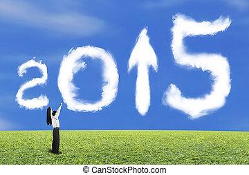 nuages, ciel, haut, applaudissement, forme, flèche, 2015, homme affaires, herbe