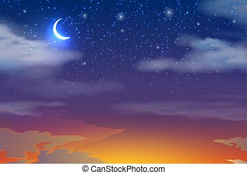 nuages, ciel, lune, vecteur, coucher soleil, étoiles
