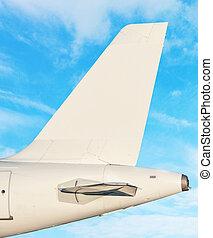 nuages, ciel, -, queue, avion, fond, blanc, nageoire
