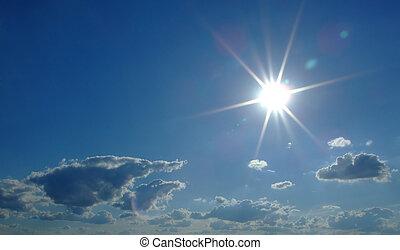 nuages, ciel, soleil, ciel, arrière-plan., 2, fond