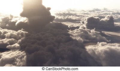 nuages, ciel, vol, altitude, élevé, dramatique, (1146), aérien