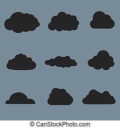 nuages, collection., gris, illustration, formes, arrière-plan., vecteur, noir