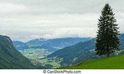 nuages, collines, sur, timelapse, en mouvement, vue, montagnes., paysage, alpin