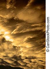 nuages, coucher soleil, orage