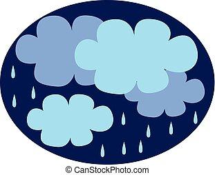 nuages, couleur, illustration, sombre, vecteur, pluie, venir, ou