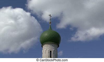 nuages, croix, église
