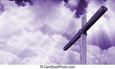 nuages, croix, boucle, violet