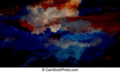 nuages, dépassement, aérien