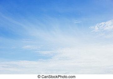 nuages, dans, les, ciel bleu, fond