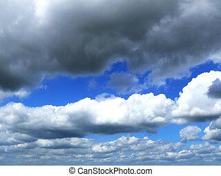nuages, dans, les, ciel