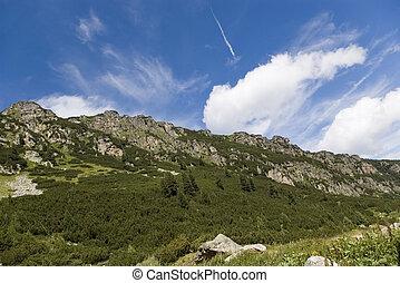 nuages, dans, montagne