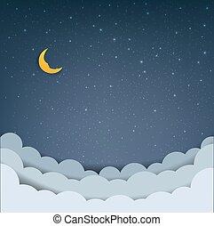 nuages, dessin animé, ciel, étoiles