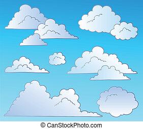 nuages, dessin animé, collection