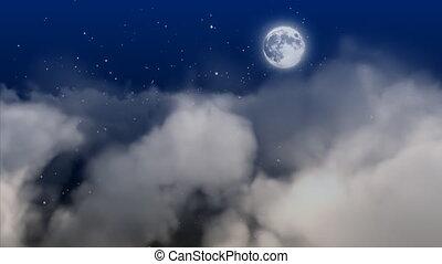 nuages, en mouvement, lune
