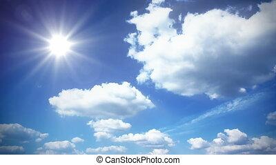 nuages, ensoleillé, ciel