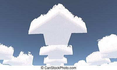 nuages, flèche, formé