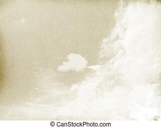 nuages, gradient., couleur, vendange, papier, brouillard, fond, textured