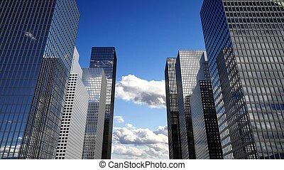 nuages, gratte-ciel, reflet