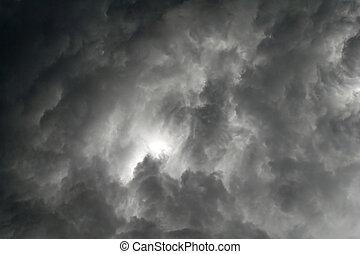 nuages gris, ciel, menacer, noir, orage